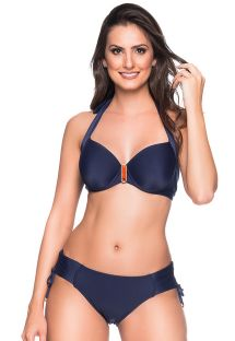 Accessorized navy blue balconette  bikini - ALÇA MIRAMAR
