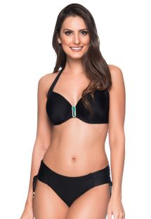 Accessorized black balconette  bikini - ALÇA PRETO LP