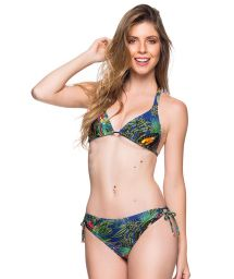 Colorful tropical double side-tie bikini - ALONGADO ARARA AZUL