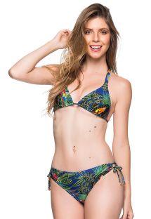 Verstellbarer Triangel-Bikini mit Tropenprint - ALONGADO ARARA AZUL