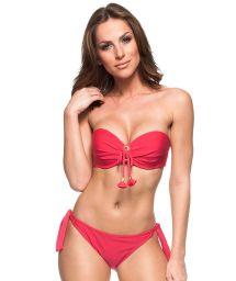 Red bikini bandeau bikini with side-tie bottom - AMORA