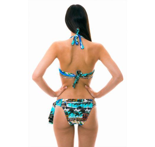 Balconette bikini with pareo - Cuban print - ANGUILHA