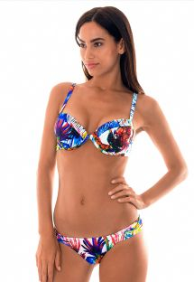 Push up balconette bikinit, trooppinen painatus - ARARAS