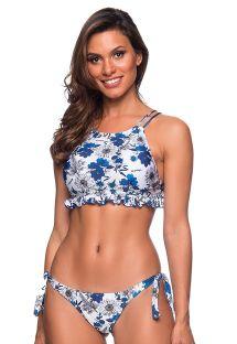 Bølgete crop topp bikini med blå blomstrete mønster - BABADINHO ATOBA