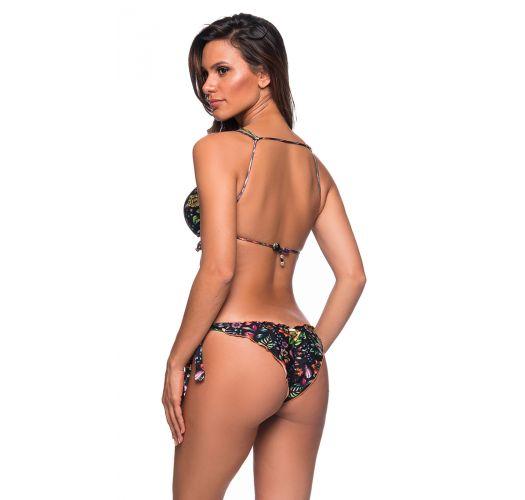 Black floral side-tie scrunch bikini with wavy crop top - BABADINHO DREAM