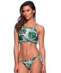 Wavy crop top bikini in foliage print - BABADINHO VIUVINHA