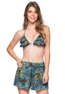 Colorful tropical set: ruffled triangle top & beach short - BABADO ARARA AZUL