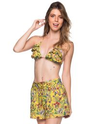 Yellow floral set: ruffled triangle top & beach short - BABADO DREAM AMARELA