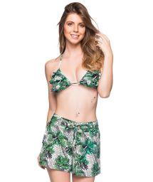 Green foliage set: ruffled triangle top & beach short - BABADO VIUVINHA