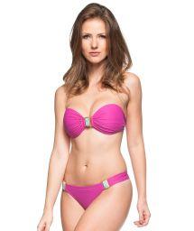 Pink bikini bandeau with decorative stones - BANCOS DE AREIA