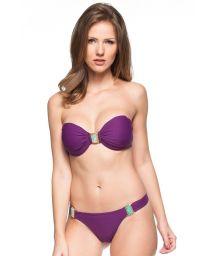 Purple bikini bandeau with decorative stones - BEIRA DO MAR
