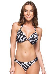 Tryckt svart/ vti balconette bikini - BETTA FISH