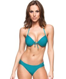 Turquoise blue push-up bikini with underwire - BLUE SKY
