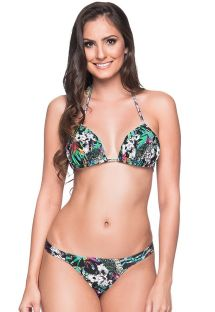 Colorful floral fixed string bikini with padded top - BOJO ATALAIA