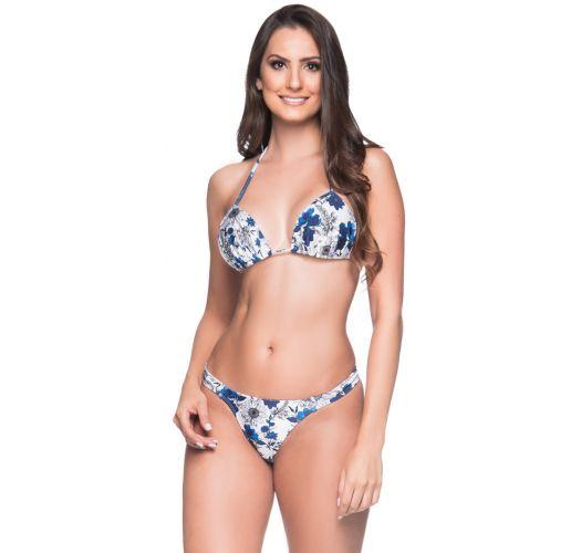 Blue & white floral string bikini with padded top - BOJO ATOBA