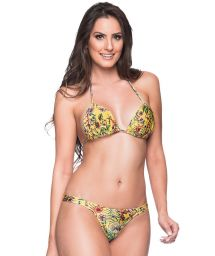Yellow floral fixed string bikini with padded top - BOJO DREAM AMARELA