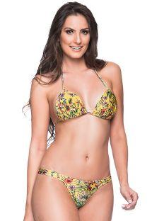 Żółte bikini w kwiaty ze stringami - BOJO DREAM AMARELA