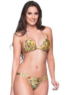 Yellow floral fixed string bikini with padded top - BOJO DREAM AMARELA