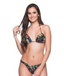 Black floral string bikini with padded top - BOJO DREAM