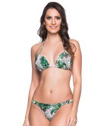 Green & white leaves string bikini with padded top - BOJO VIUVINHA