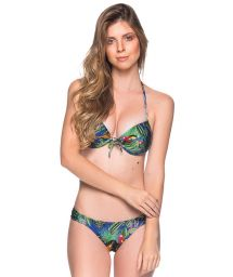 Colorful tropical push-up balconette bikini - BOLHA ARARA AZUL