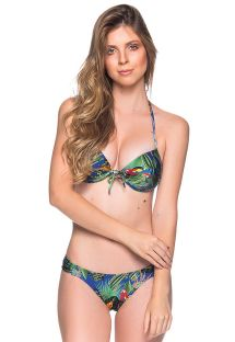 Bikini tropical de top balconette push Up -  BOLHA ARARA AZUL
