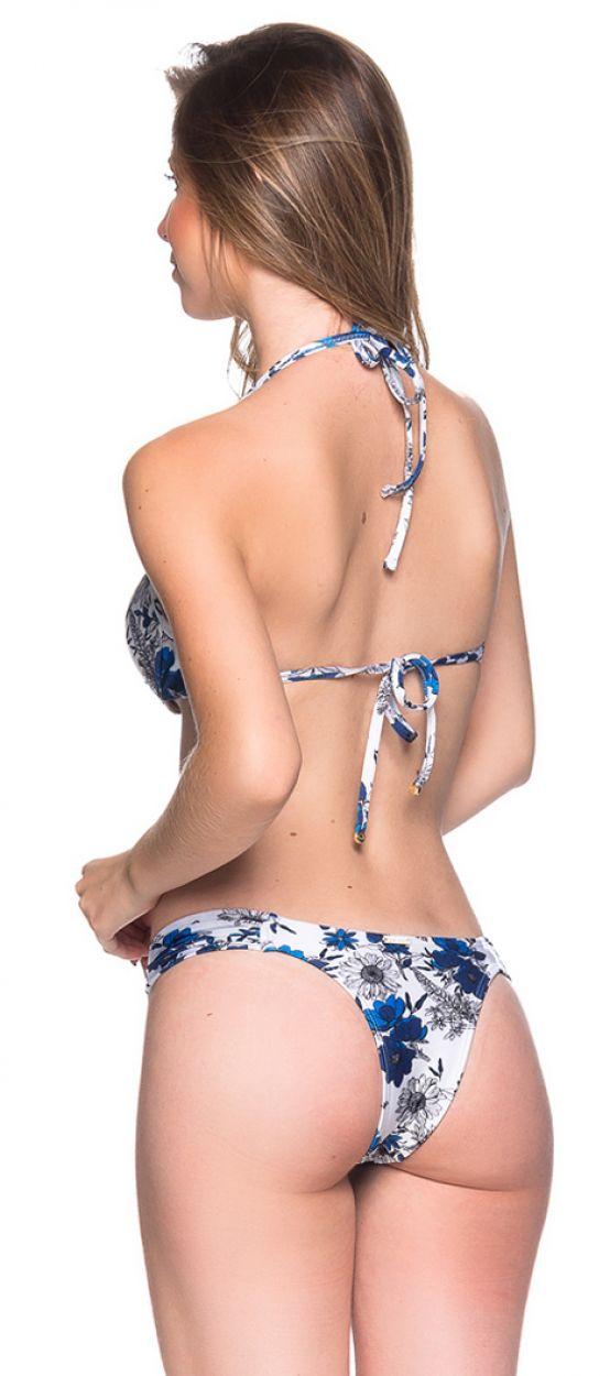 Blau/weißgeblümter Push-Up-Balconette-Bikini - BOLHA ATOBA
