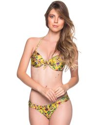 Gulblommig push up balconette bikini - BOLHA DREAM AMARELA