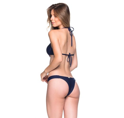 Navy blue underwired push-up balconette bikini - BOLHA MIRAMAR