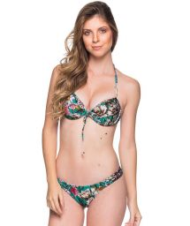 Green floral push-up balconette bikini - BOLHA TROPICAL GARDEN