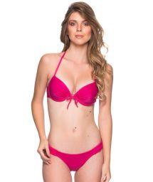 Rosa balconnette-bikini med push up och bygel - BOLHA TROPICALIA