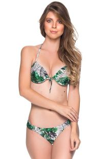 Green leaves balconette push-up bikini - BOLHA VIUVINHA