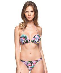 String triangle padded bikini - pink Cuba print - CACHO DE ACACIAS