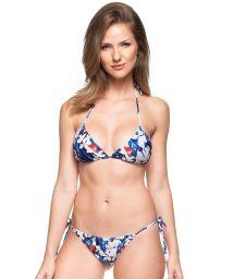 Blue/white floral Brazilian bikini - CANCUN BRASILEIRO