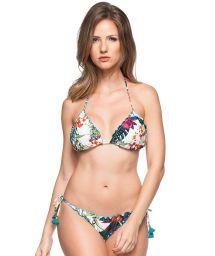White tropical scrunch bikini with blue tassels - CARIBE COLOMBIANO
