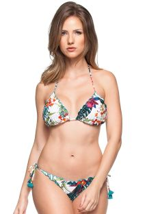 White tropical scrunch bikini with blue tassels - CARIBE COLOMBIANO
