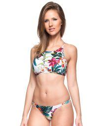 White tropical cross back crop top bikini - CARIBE MEXICANO
