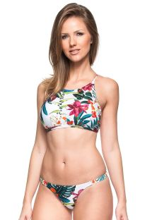 Bikini con crop top incrociato dietro tropicale bianco - CARIBE MEXICANO