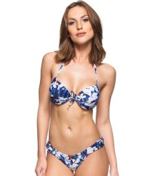 Floral blue and white push-up bikini with underwire - CERISIER