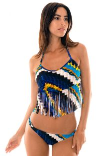Blue feather crop top bikini with fringing - COCAR CORACAO