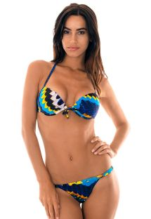 Tanga con Push-up estampa plumas azul  - COCAR MINI
