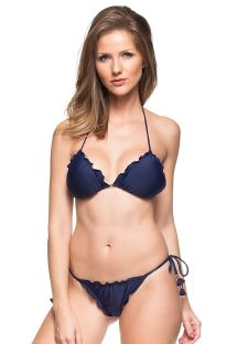 Marineblauer Scrunch-Bikini mit Pompons - COR DO MAR
