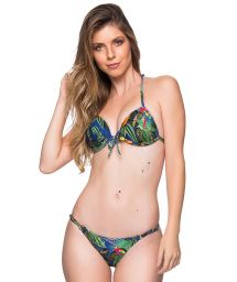 Tropical colorful triangle push-up bikini with adjustable bottom - CORTINAO ARARA AZUL