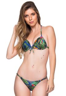 Bikini estampado tropical colorido top triángulo push-up y braguita ajustable - CORTINAO ARARA AZUL