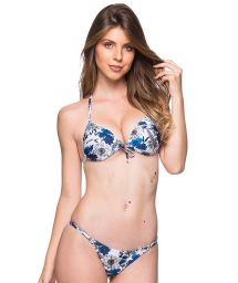 Blue and white floral triangle padded push-up bikini - CORTINAO ATOBA