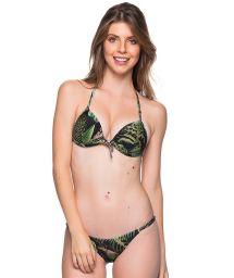 Tropical green triangle push-up bikini with adjustable bottom - CORTINAO BOTANICAL