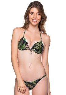 Bikini triangle push up, tanga réglable tropical vert - CORTINAO BOTANICAL