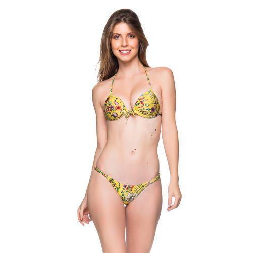 Push-Up-Triangel-Bikini, verstellbarer Tanga - CORTINAO DREAM AMARELA