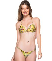 Yellow floral triangle push-up bikini with adjustable bottom - CORTINAO DREAM AMARELA