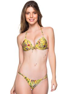 Bikini floral  amarillo top triángulo push-up y braguita ajustable - CORTINAO DREAM AMARELA